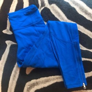 Lululemon leggings zip long bright blue